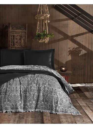 Eponj Home Yatak Örtüsü NaturelSaçaklı Çift Kişilik  Porto  Siyah